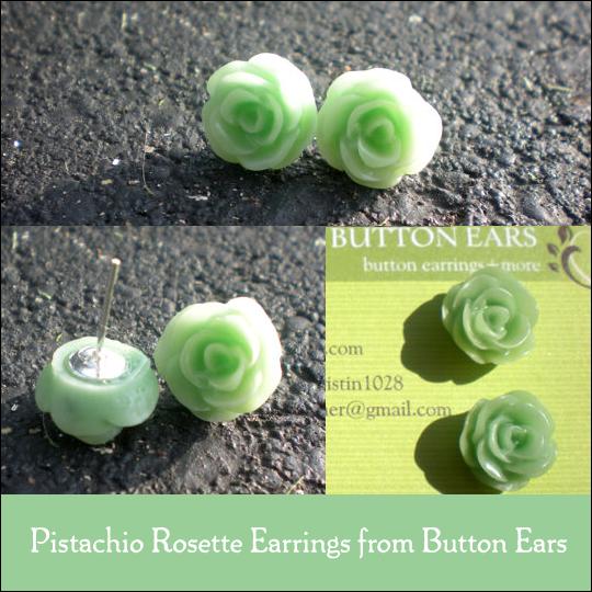 Pistachio Rosette Earrings